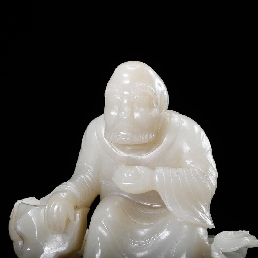 CHINESE WHITE JADE CARVED LOHAN - 7