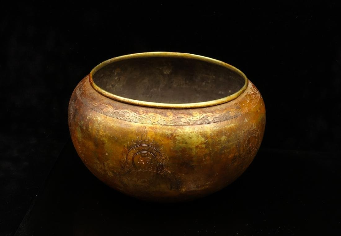 CHINESE GILT SILVER BUDDHIST BOWL