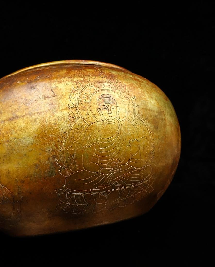 CHINESE GILT SILVER BUDDHIST BOWL - 4