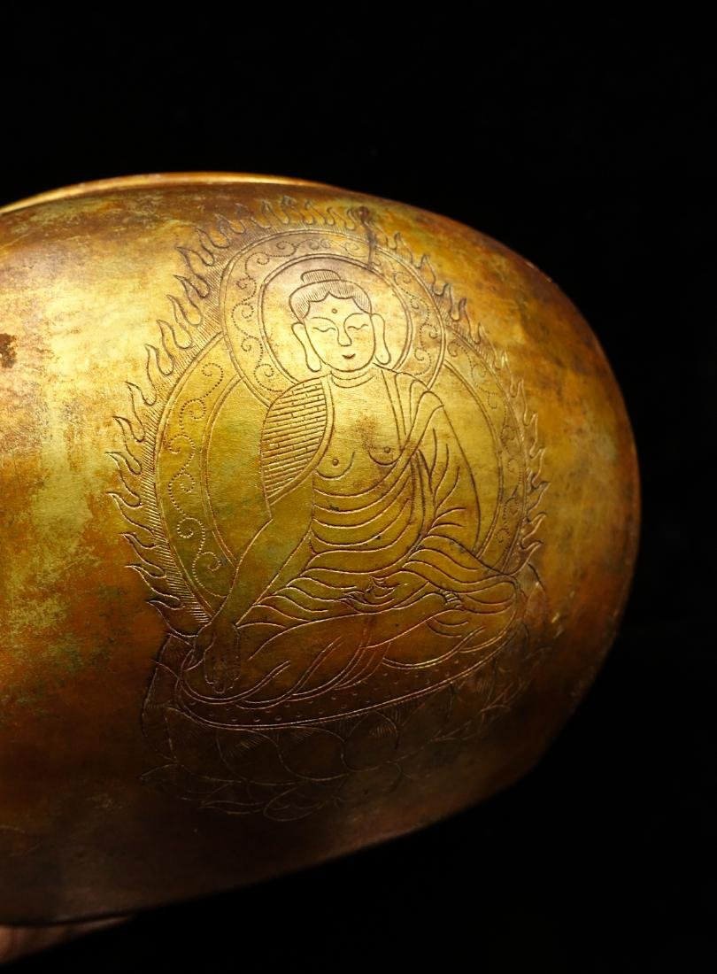 CHINESE GILT SILVER BUDDHIST BOWL - 5
