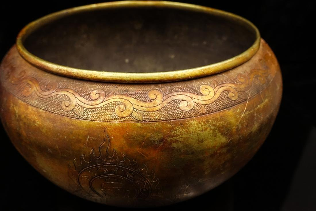 CHINESE GILT SILVER BUDDHIST BOWL - 8