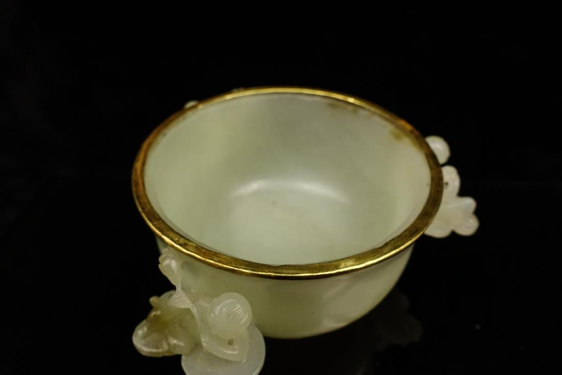CHINESE CELADON JADE CENSER WITH GOLD COVER - 10