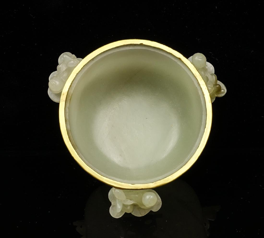 CHINESE CELADON JADE CENSER WITH GOLD COVER - 6