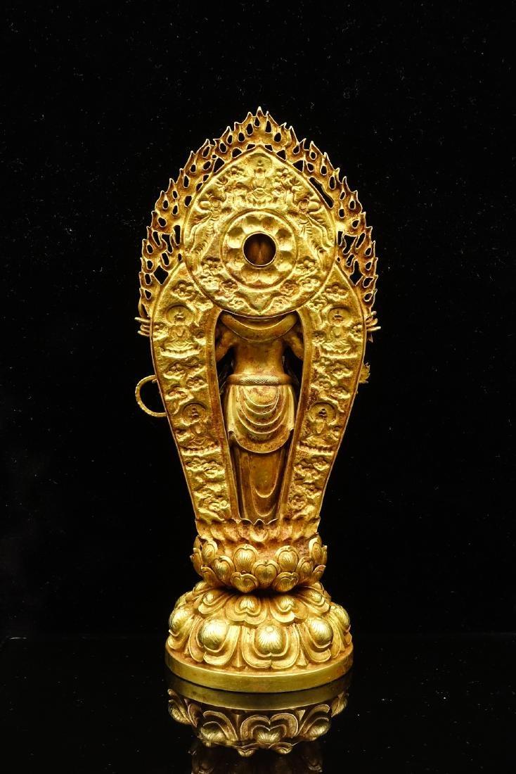 CHINESE GOLD FIGURE OF AVALOKITESVARA - 4