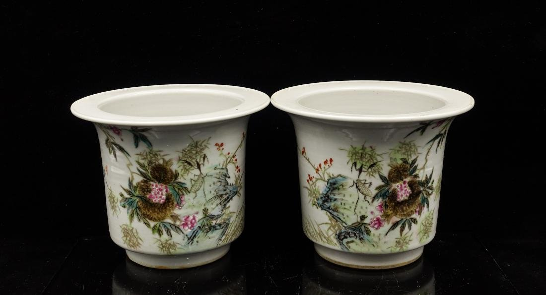 CHINESE QIANJIANG PAINTED PORCELAIN FLOWER POTS, P