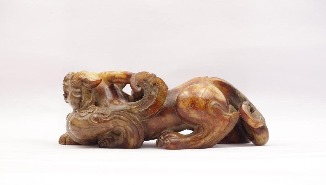 CHINESE ARCHAIC JADE FIGURE OF BEAST - 3