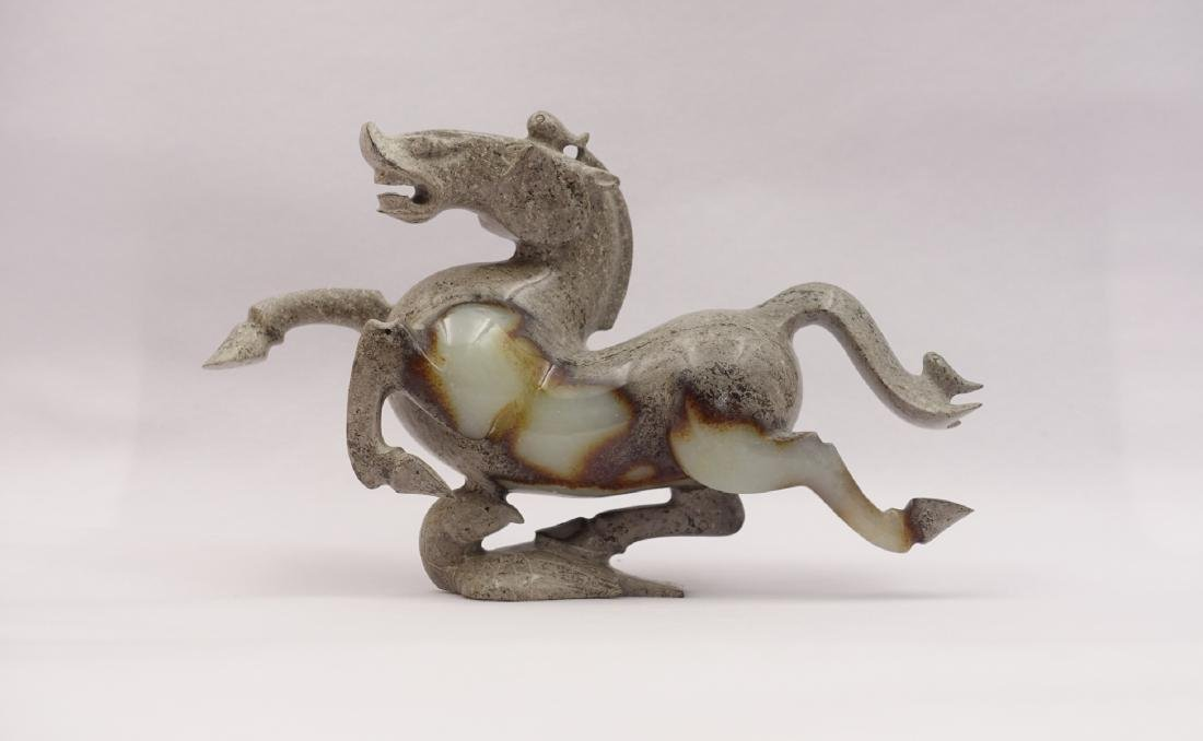 CHINESE GREY WHITE JADE CARVED HORSE