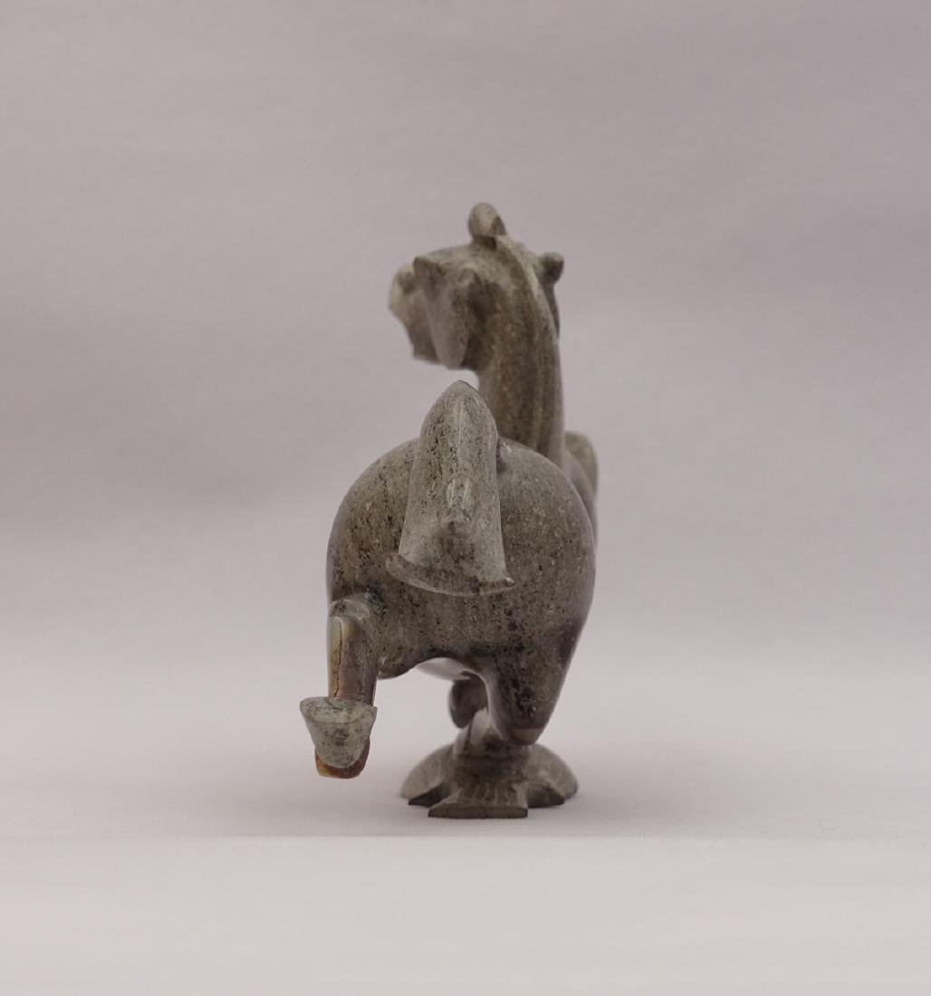 CHINESE GREY WHITE JADE CARVED HORSE - 2