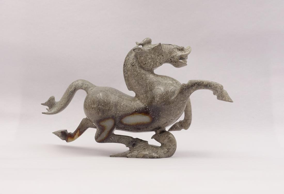 CHINESE GREY WHITE JADE CARVED HORSE - 3