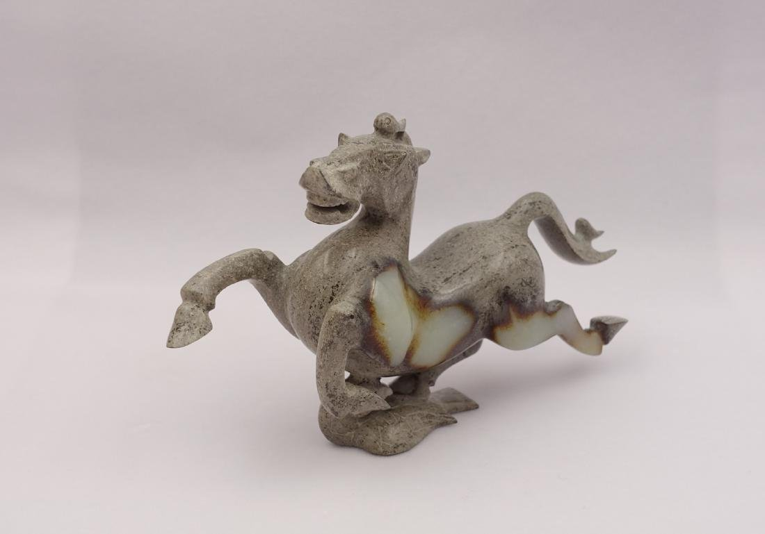 CHINESE GREY WHITE JADE CARVED HORSE - 4