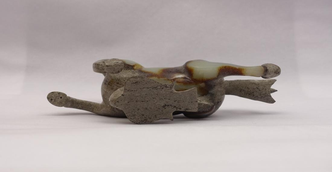 CHINESE GREY WHITE JADE CARVED HORSE - 5