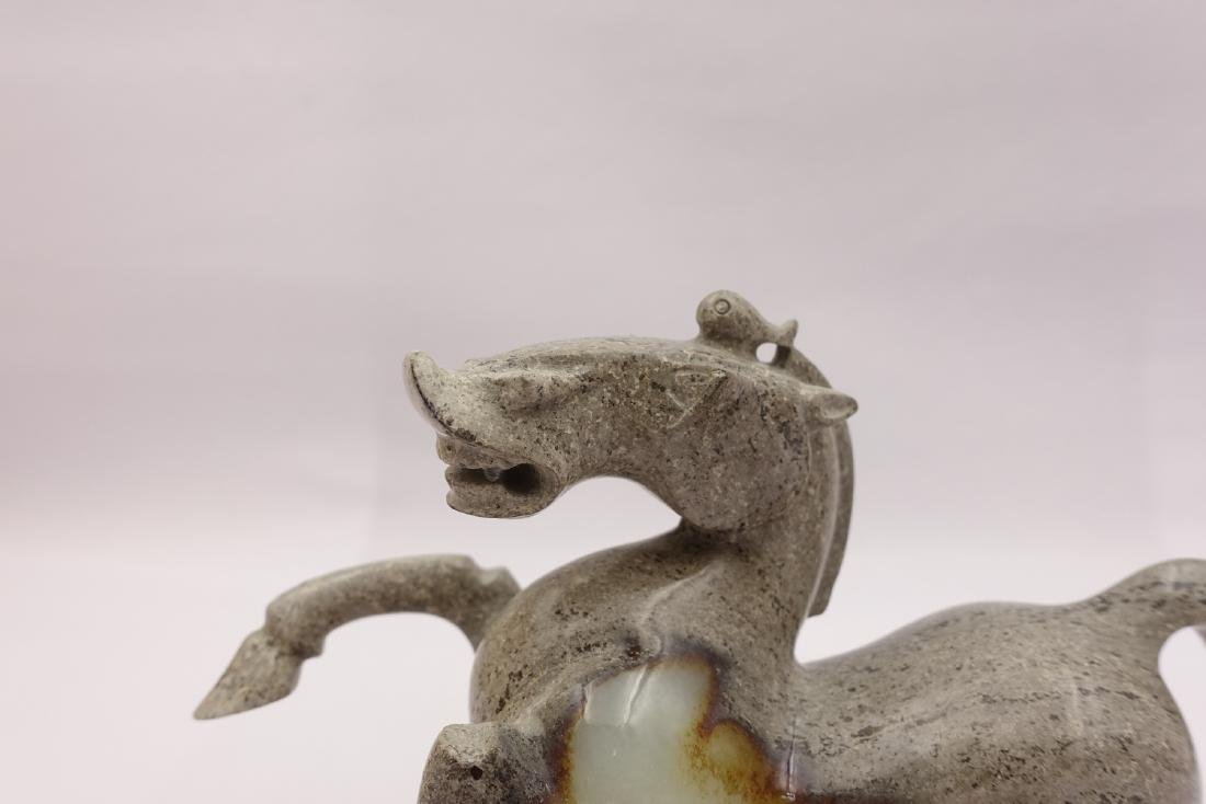 CHINESE GREY WHITE JADE CARVED HORSE - 6