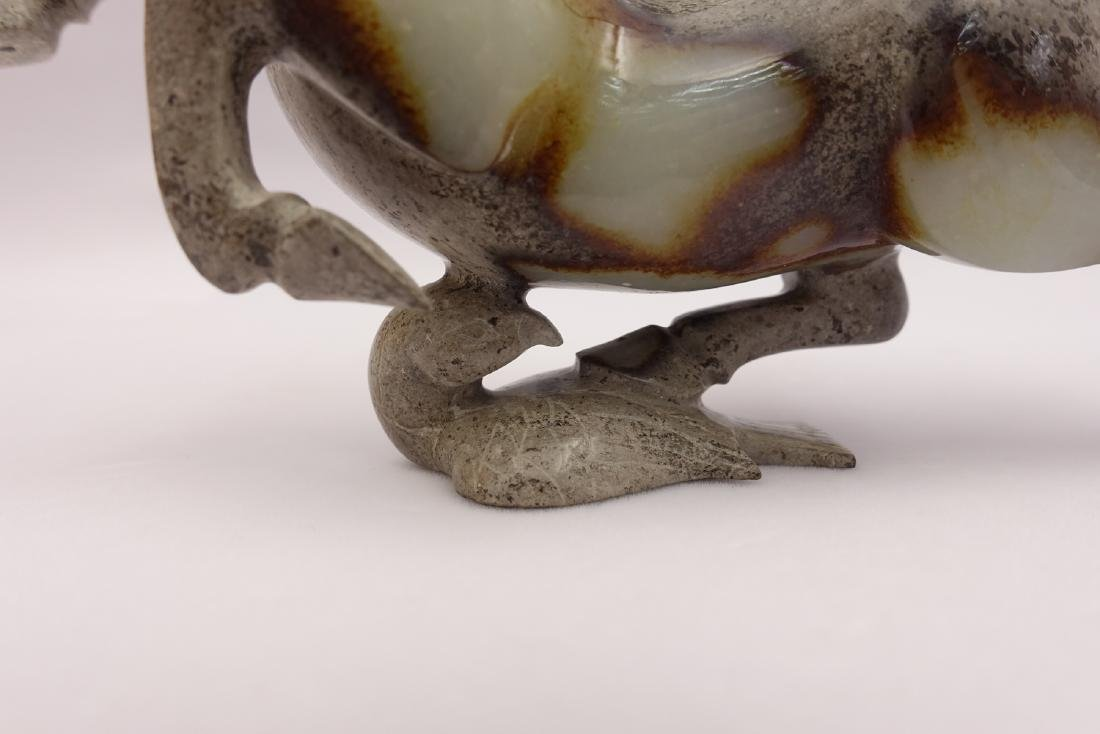 CHINESE GREY WHITE JADE CARVED HORSE - 8