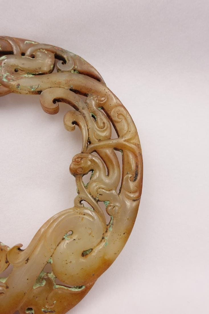 CHINESE JADE CARVED DRAGON PENDANT - 4
