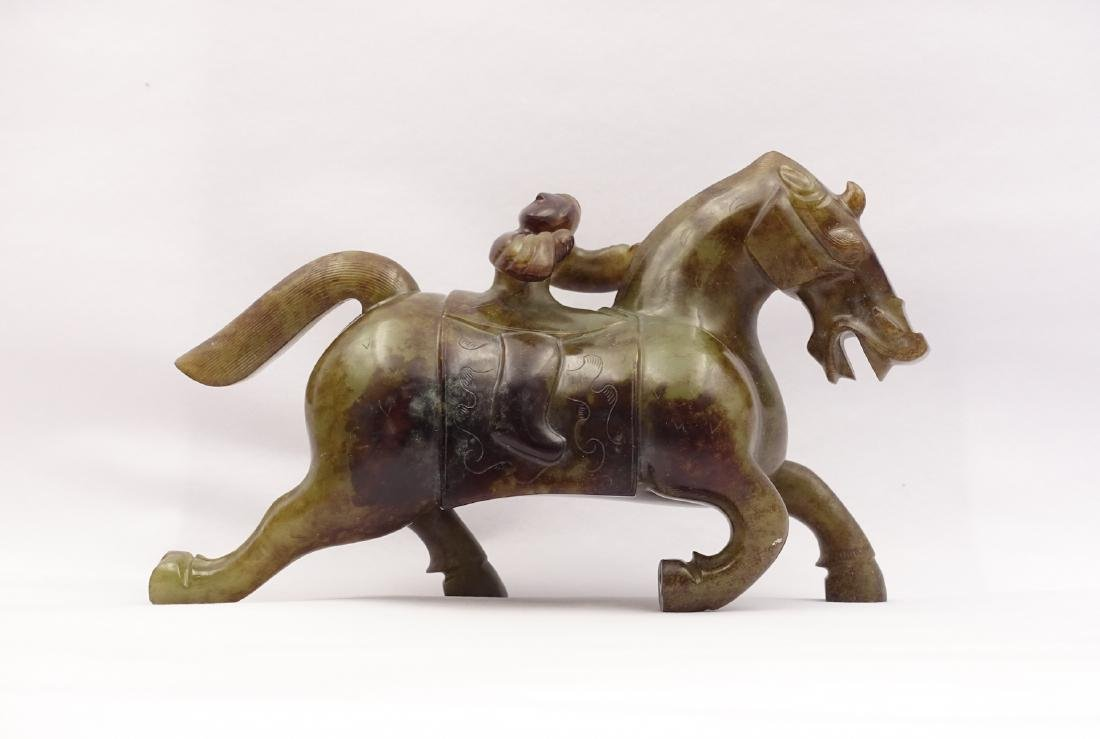 CHINESE ARCHAIC JADE CARVED MAN RIDING HORSE