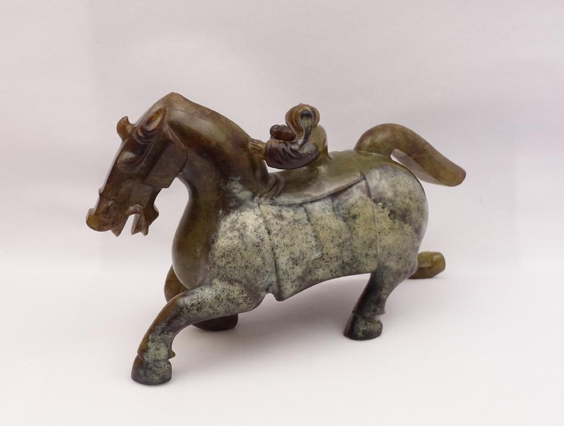 CHINESE ARCHAIC JADE CARVED MAN RIDING HORSE - 3