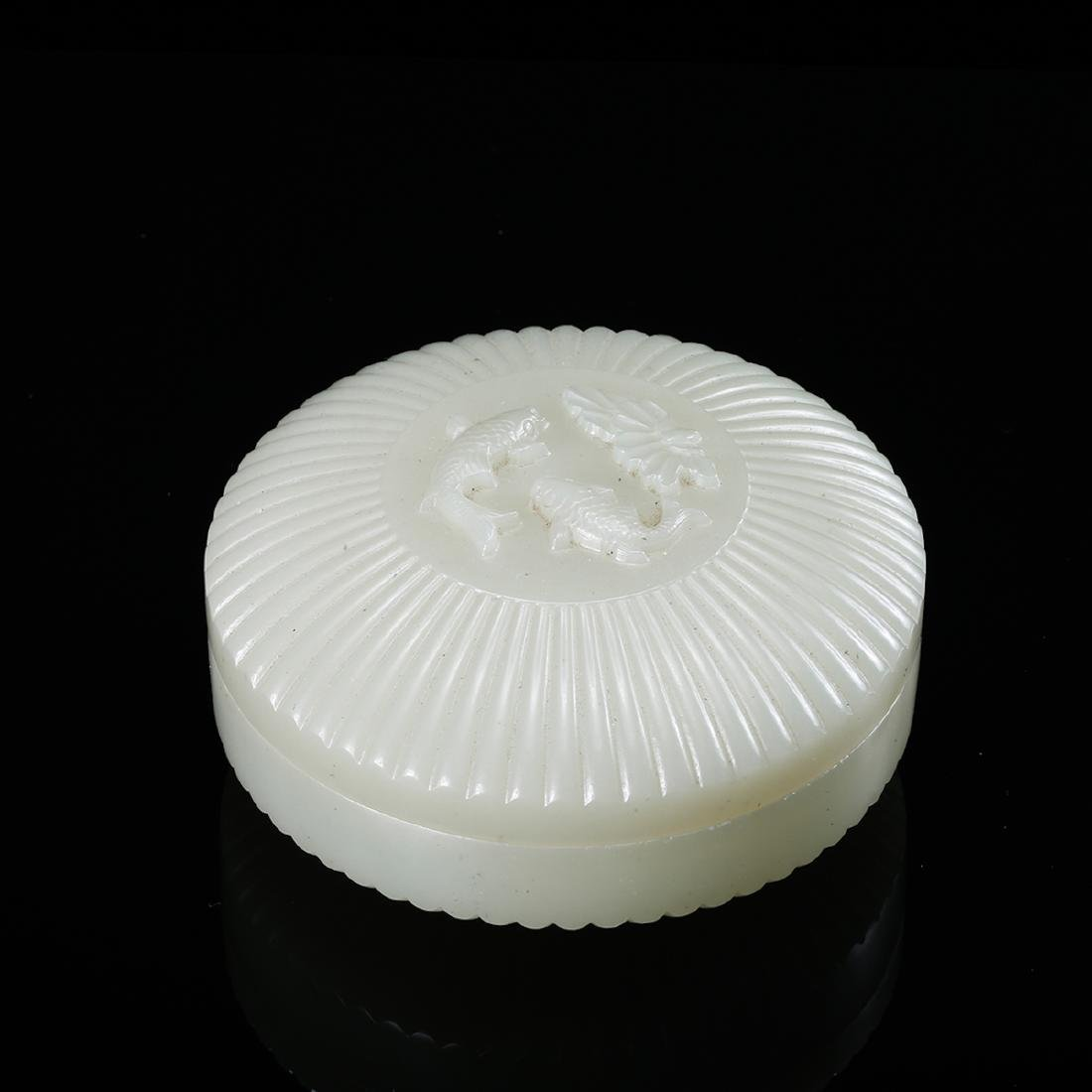 CHINESE WHITE JADE COVER BOX WITH MARK - 7