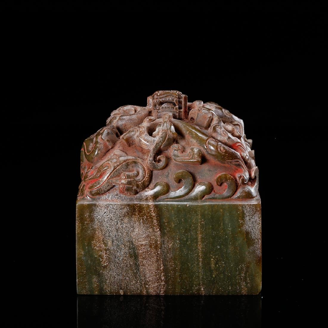 CHINESE JADE CARVED DRAGON SEAL - 2