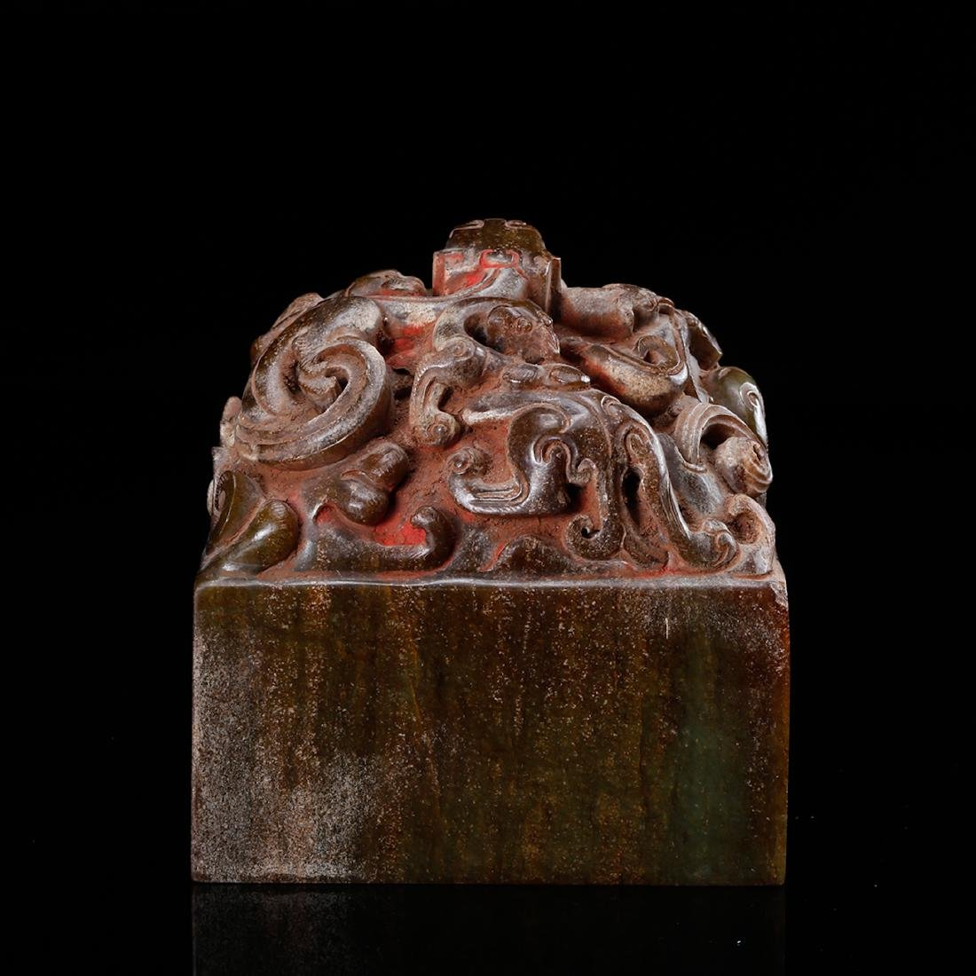 CHINESE JADE CARVED DRAGON SEAL - 4