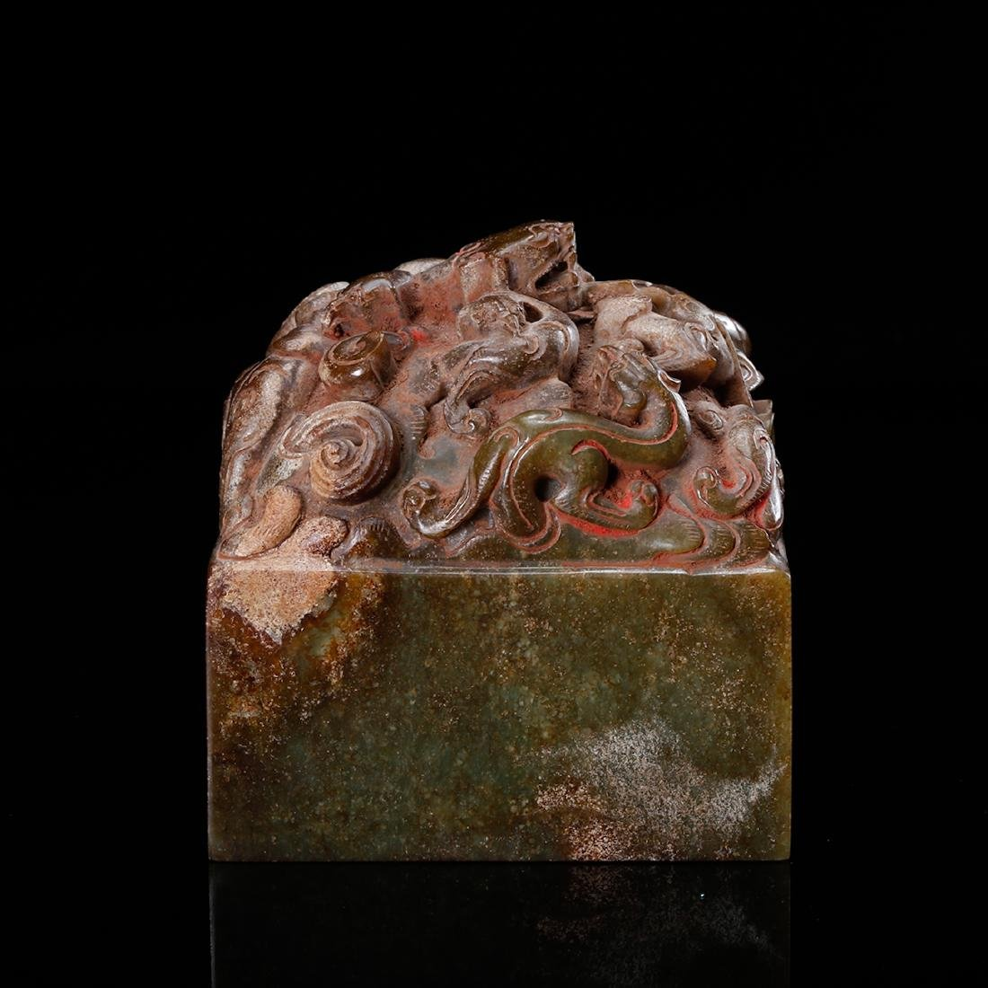CHINESE JADE CARVED DRAGON SEAL - 5