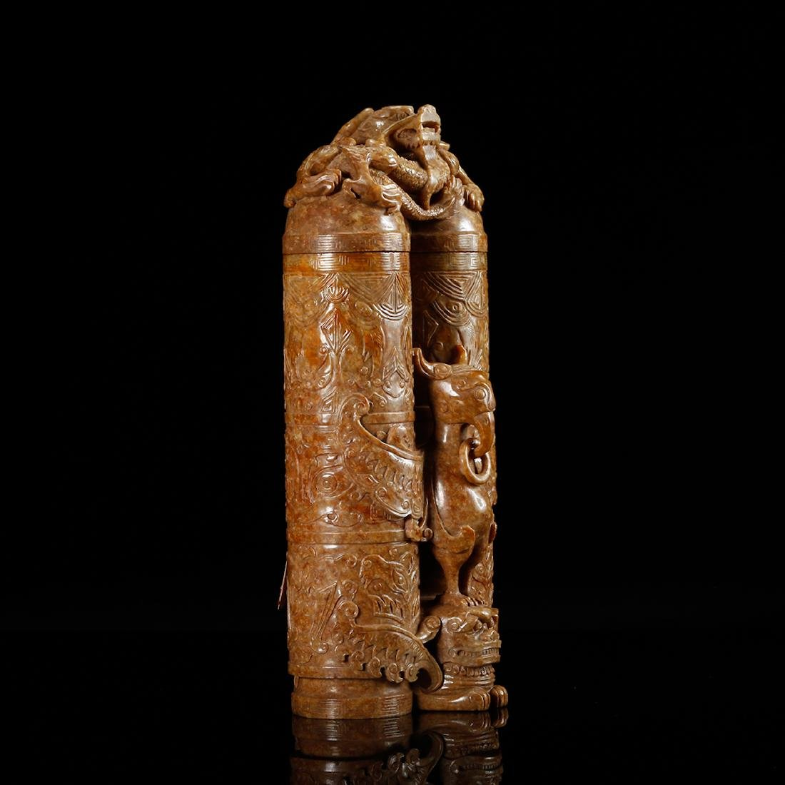 CHINESE JADE CARVED DOUBLE VASE WITH HERO MOTIF - 3