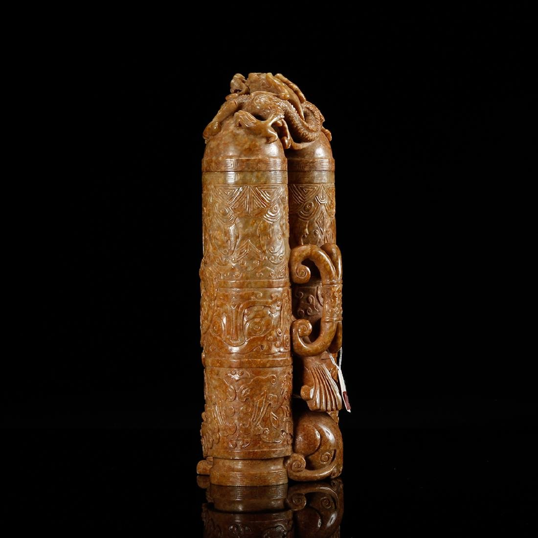 CHINESE JADE CARVED DOUBLE VASE WITH HERO MOTIF - 4