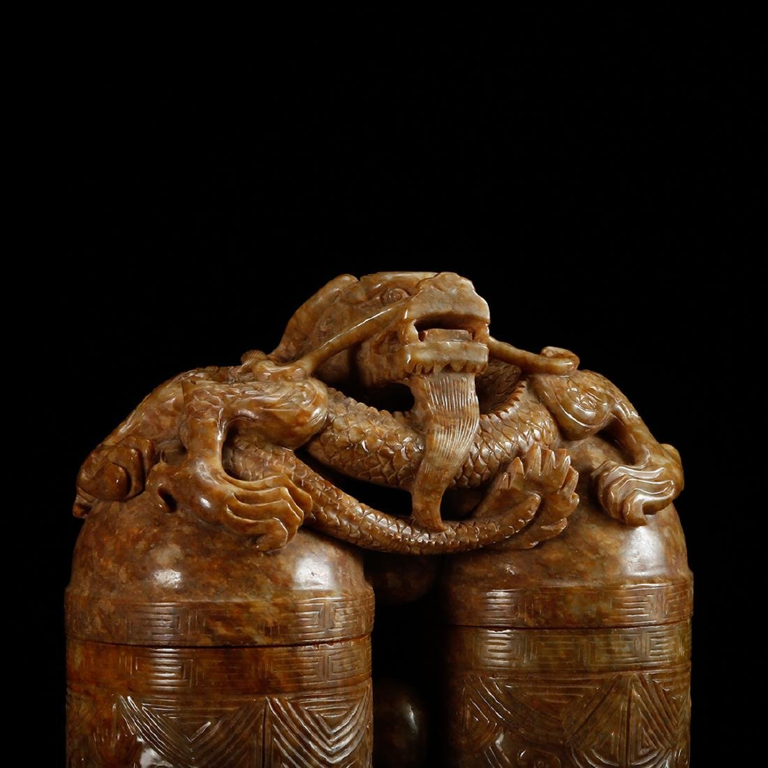 CHINESE JADE CARVED DOUBLE VASE WITH HERO MOTIF - 8