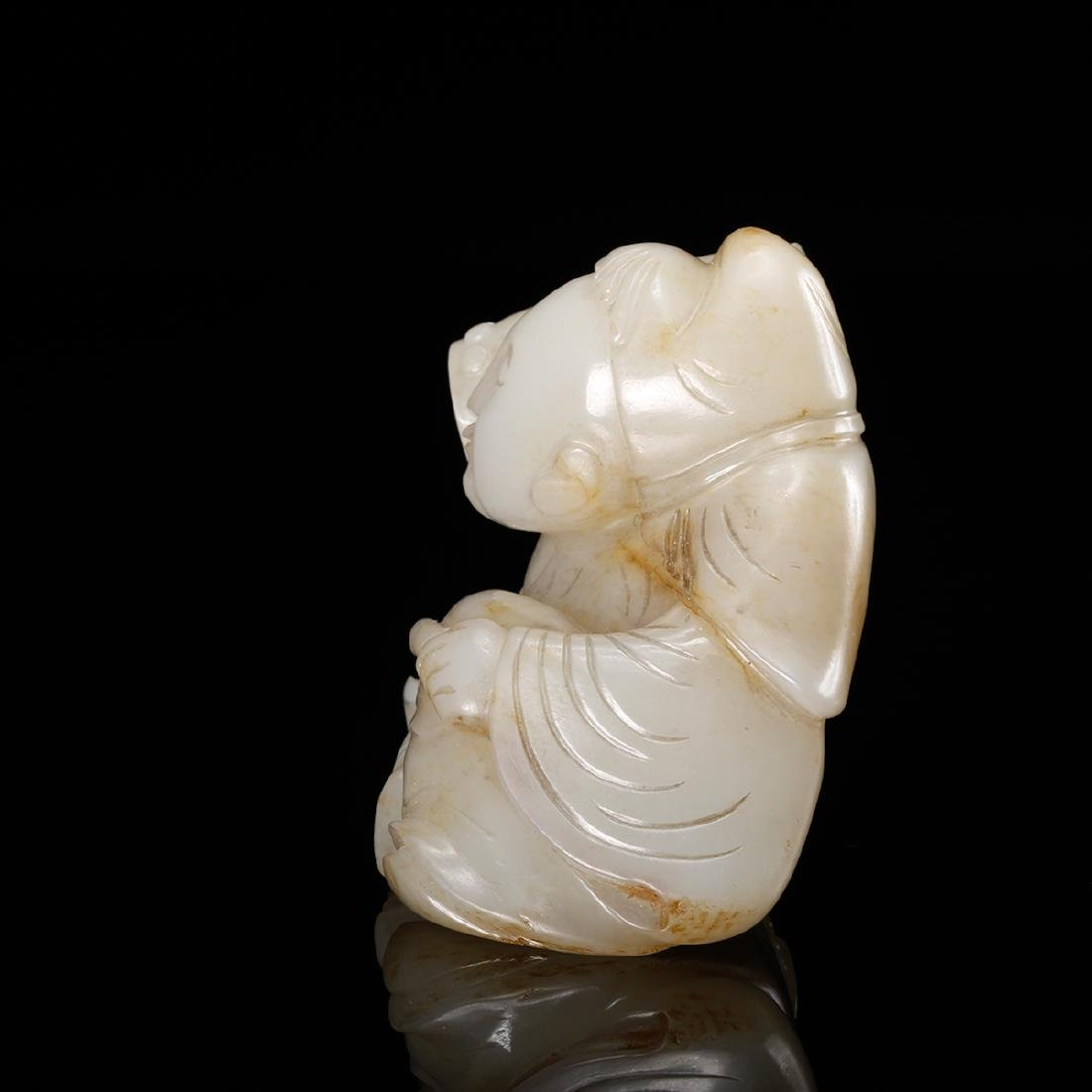 CHINESE WHITE JADE CARVED SCHOLAR - 3