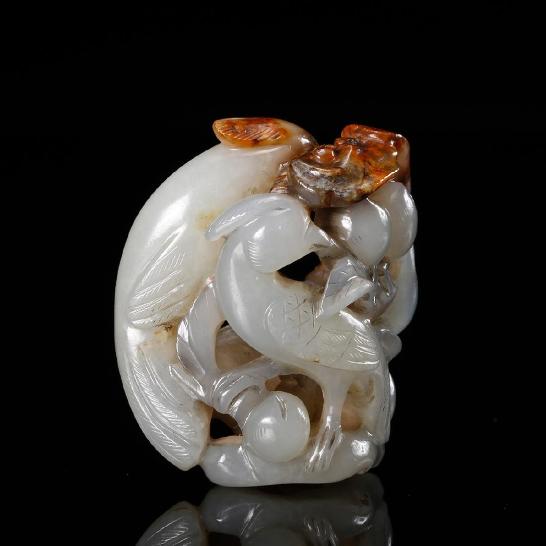 CHINESE WHITE JADE CARVED BIRD WITH FLOWER - 3