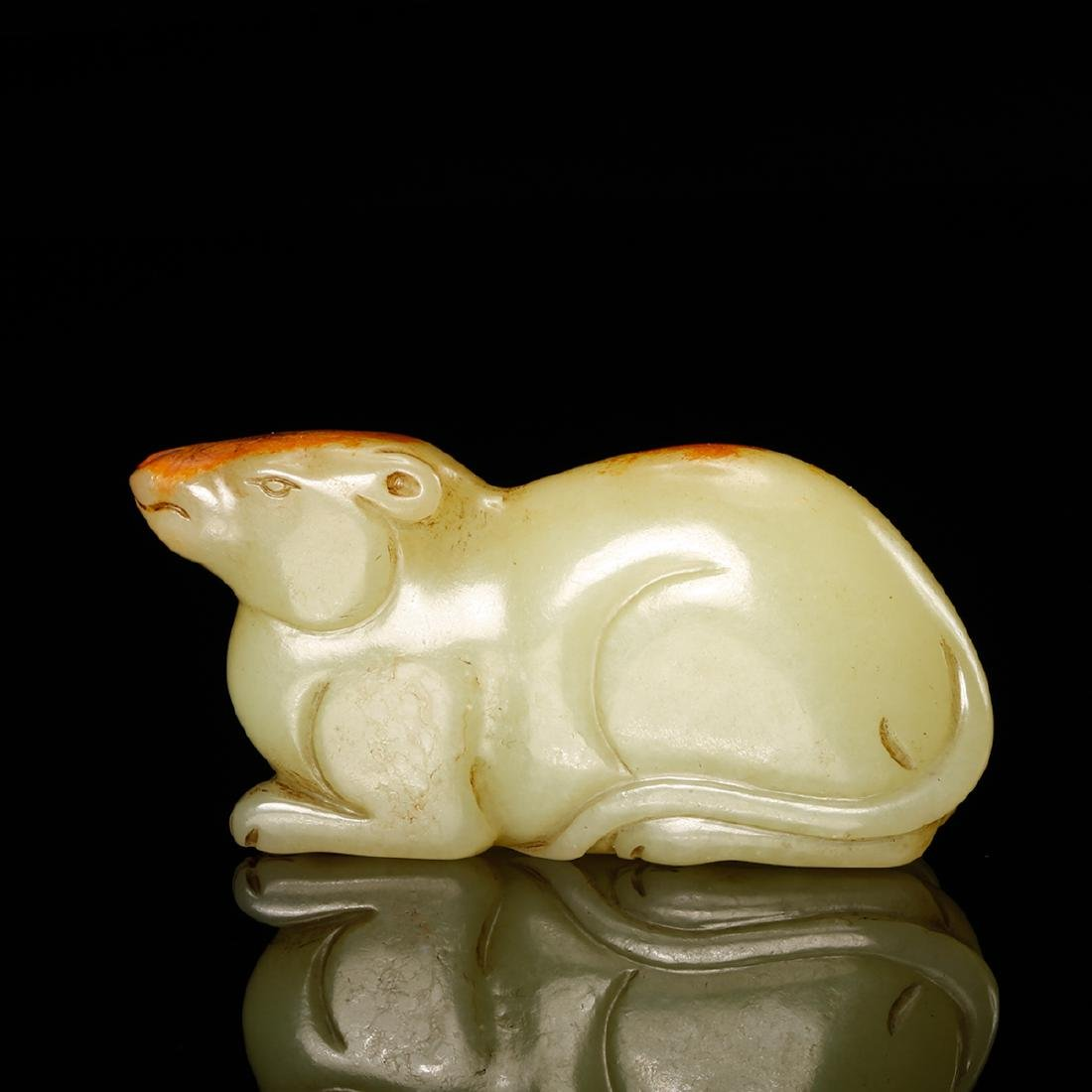 CHINESE YELLOW JADE CARVED RAT