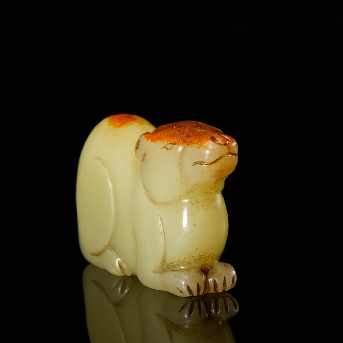 CHINESE YELLOW JADE CARVED RAT - 3