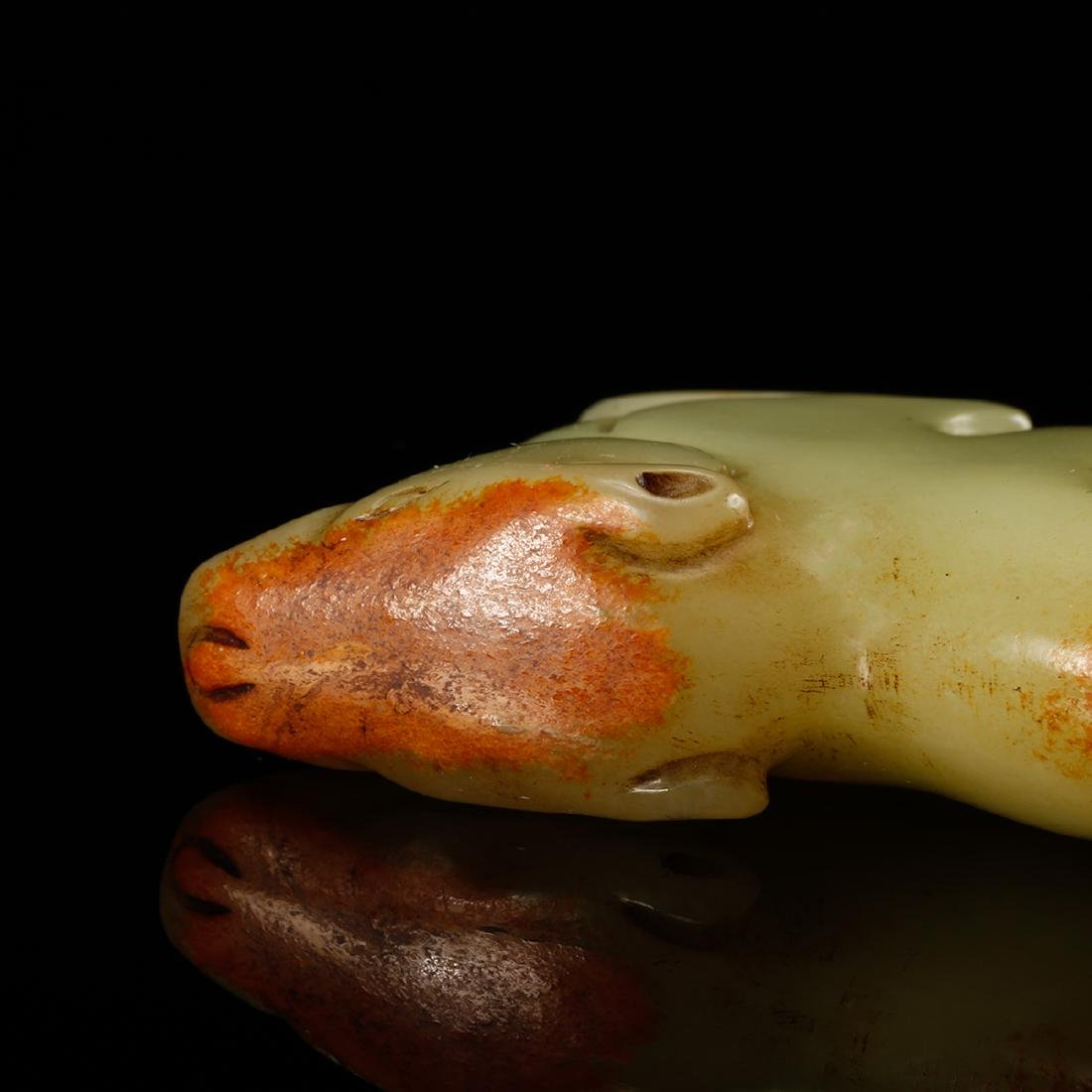 CHINESE YELLOW JADE CARVED RAT - 8