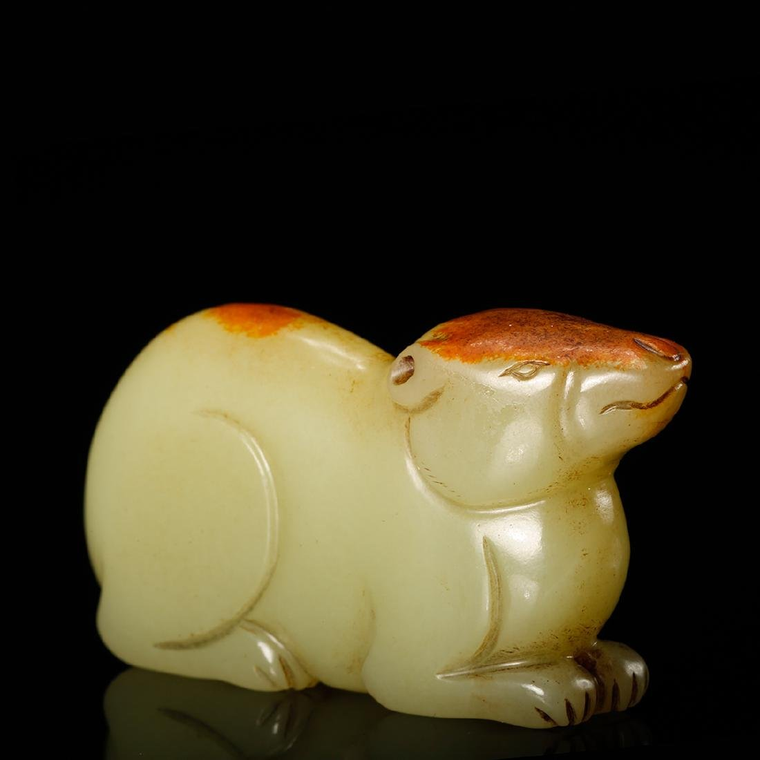CHINESE YELLOW JADE CARVED RAT - 9