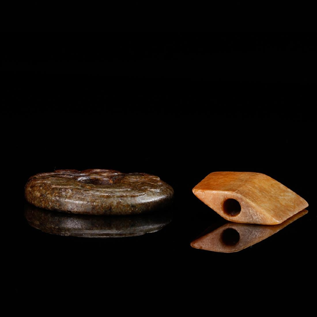 CHINESE TWO ARCHAIC JADE PENDANTS - 5