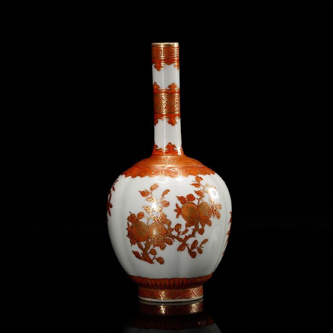 CHINESE IRON RED PORCELAIN VASE - 2