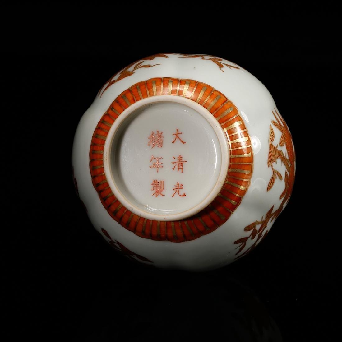 CHINESE IRON RED PORCELAIN VASE - 5