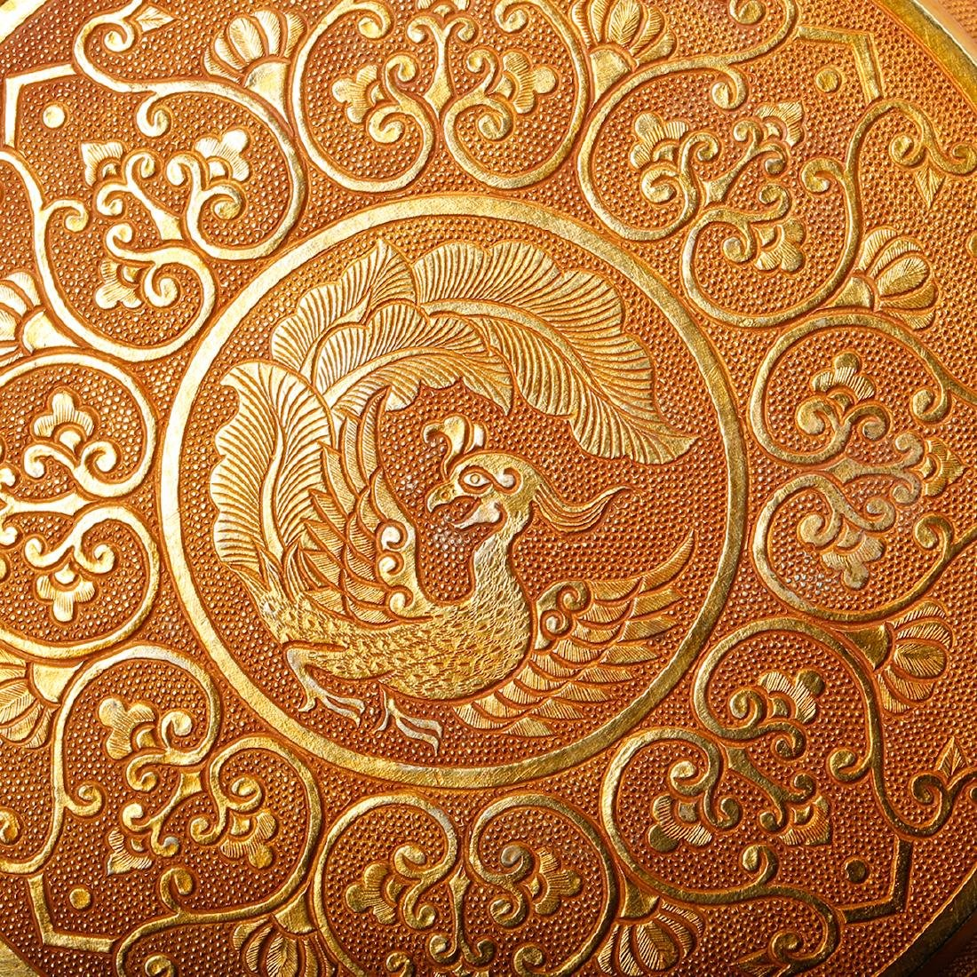 CHINESE GILT BRONZE COVER BOX - 9