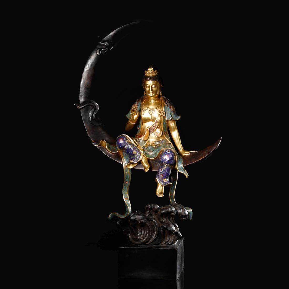 CHINESE CLOISONNE GILT BRONZE FIGURE OF GUANYIN
