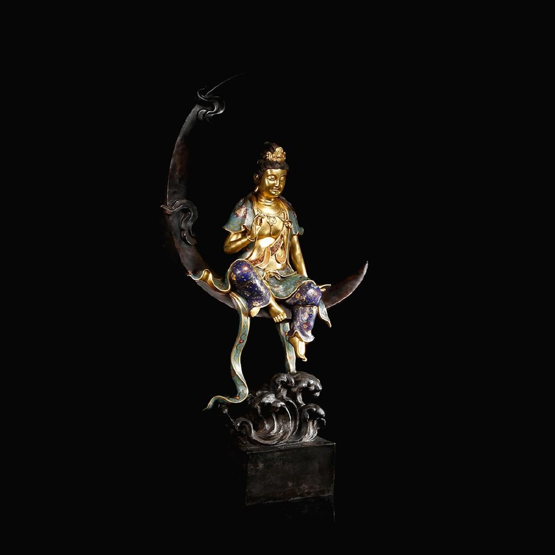CHINESE CLOISONNE GILT BRONZE FIGURE OF GUANYIN - 4