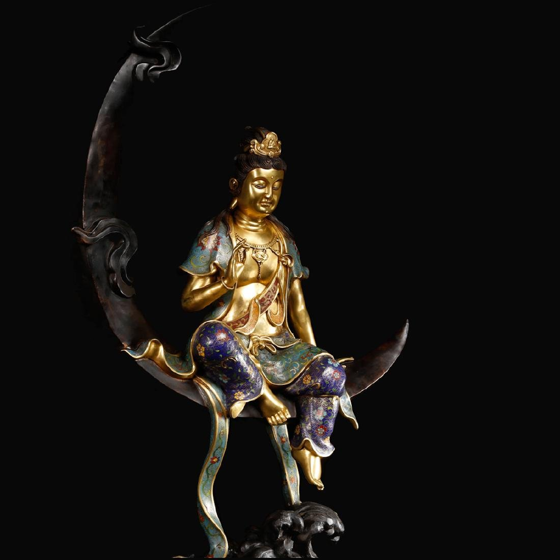 CHINESE CLOISONNE GILT BRONZE FIGURE OF GUANYIN - 5