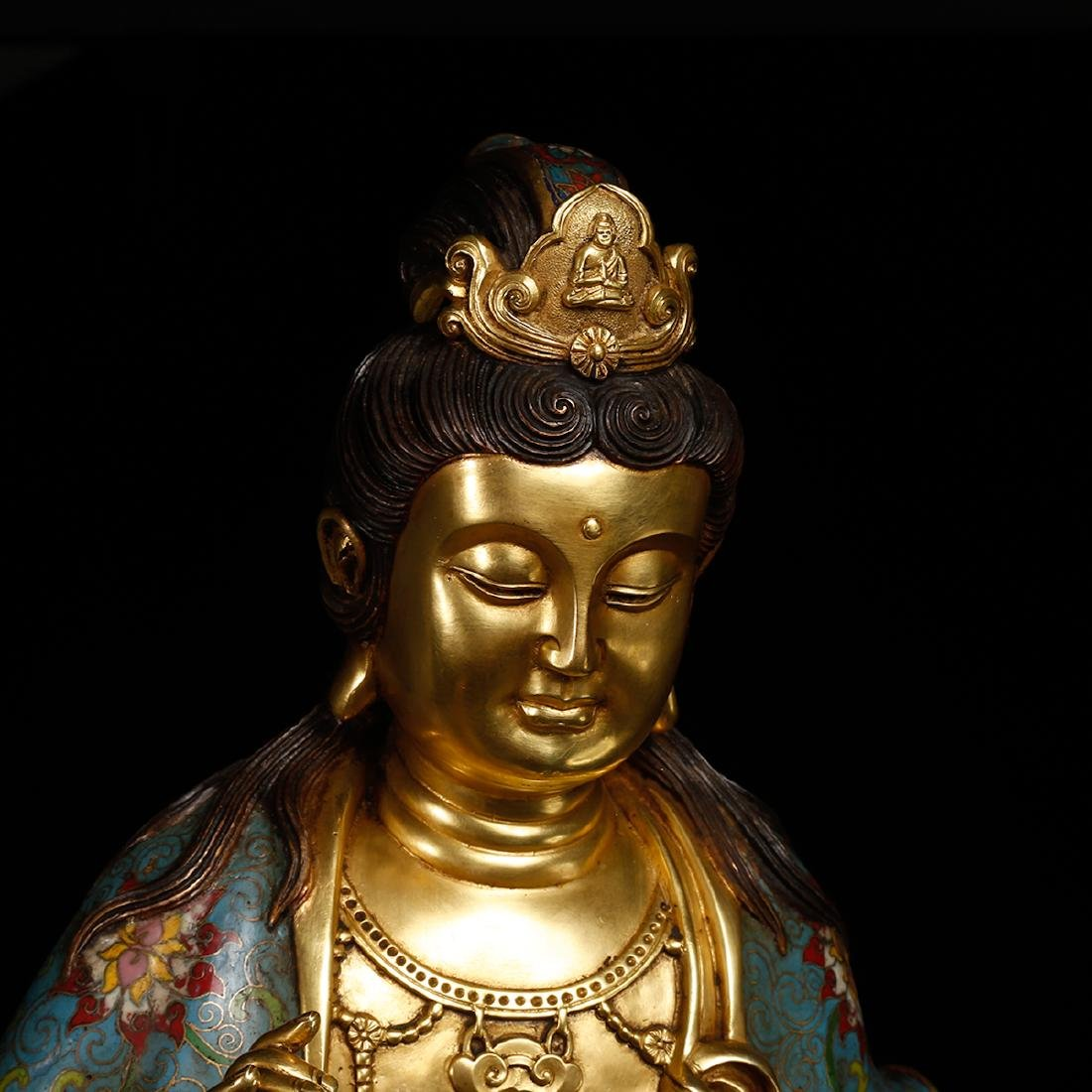 CHINESE CLOISONNE GILT BRONZE FIGURE OF GUANYIN - 7
