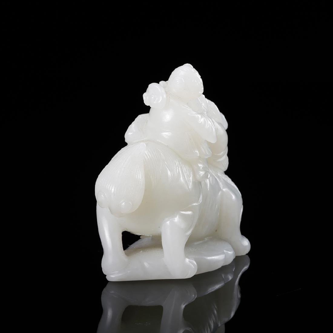 CHINESE WHITE JADE CARVED BOY WITH QILIN - 4