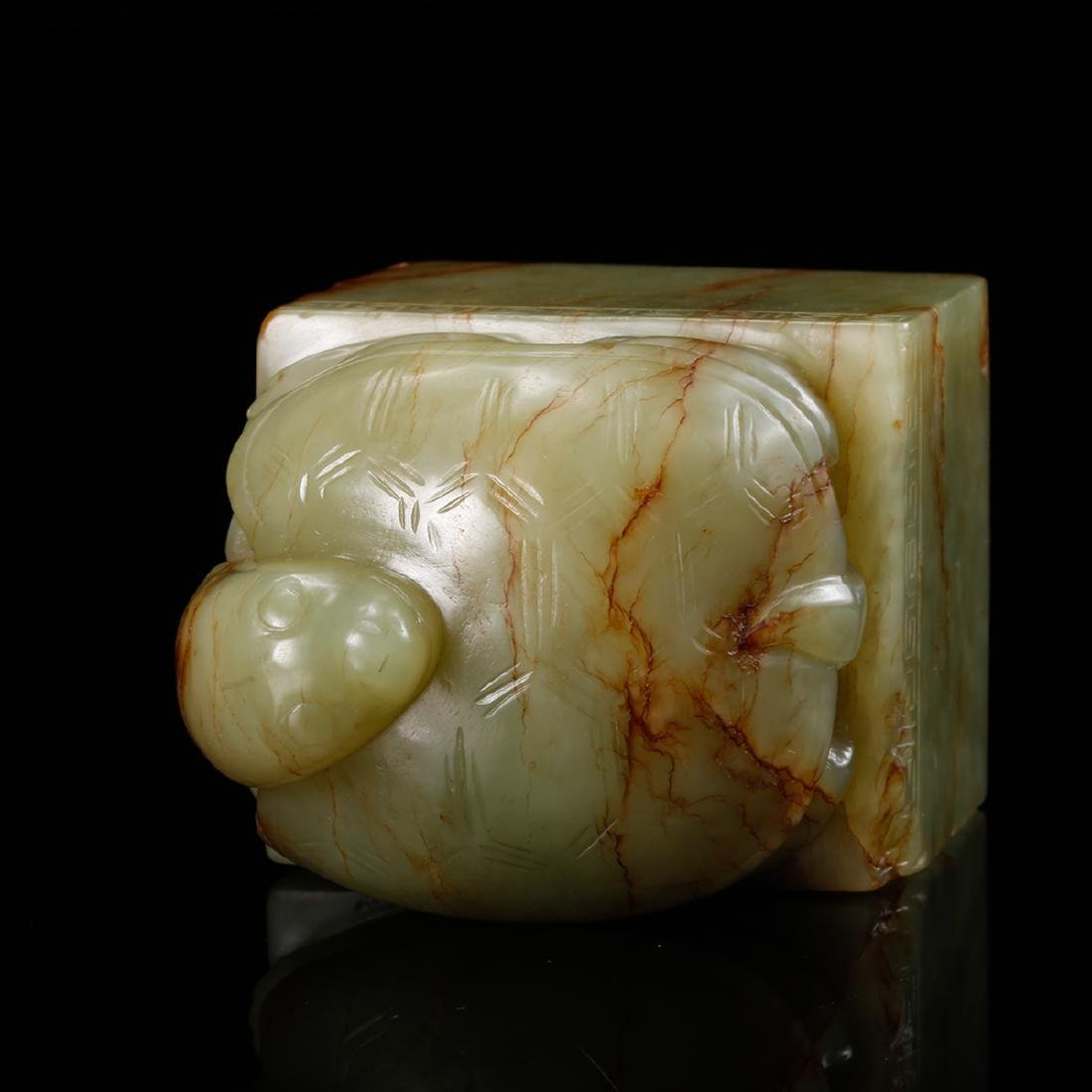 CHINESE CELADON JADE CARVED TORTOISE SEAL - 6