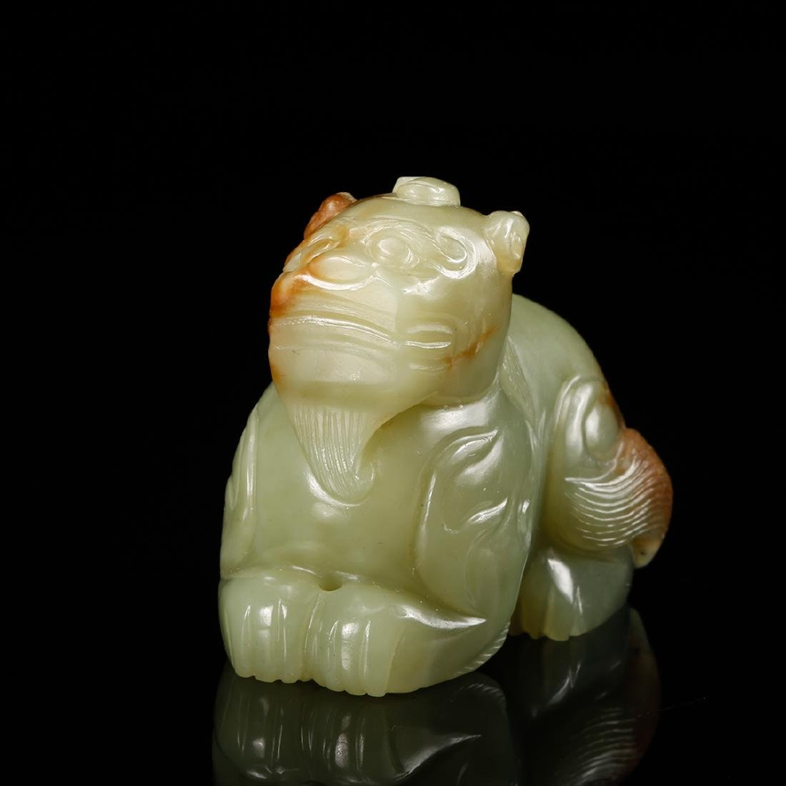 CHINESE YELLOW JADE CARVED BEAST - 3