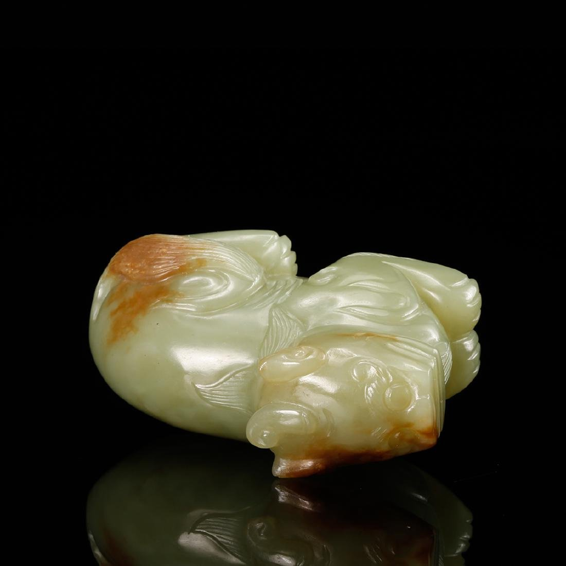 CHINESE YELLOW JADE CARVED BEAST - 6
