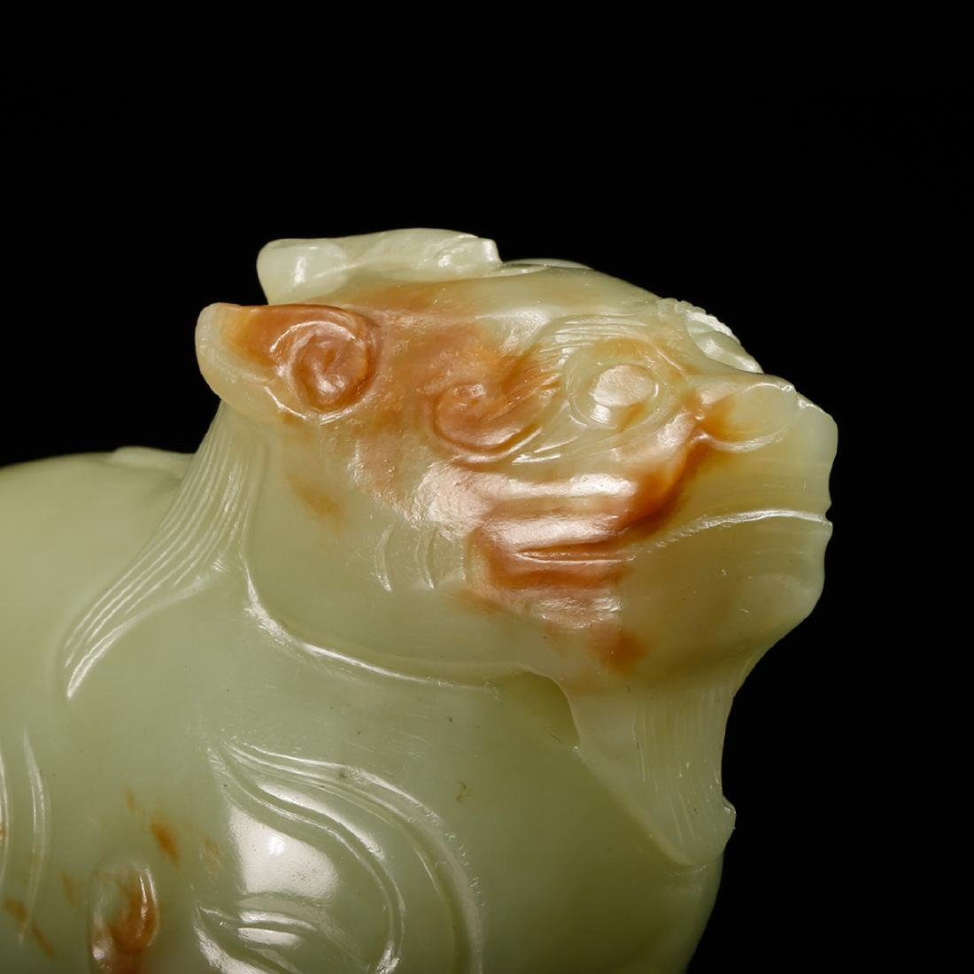 CHINESE YELLOW JADE CARVED BEAST - 7