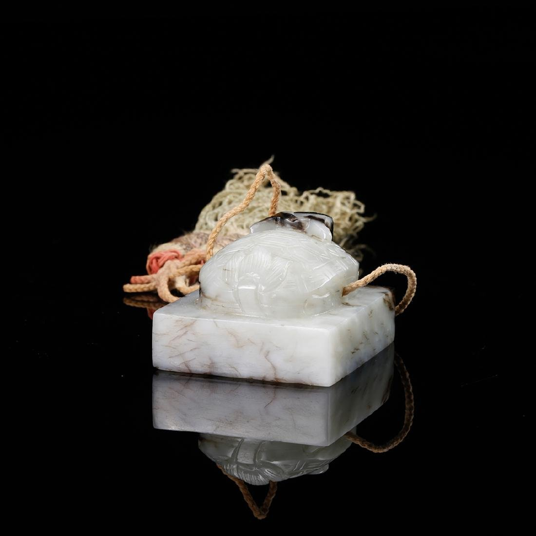 CHINESE WHITE JADE CARVED TORTOISE SEAL - 4