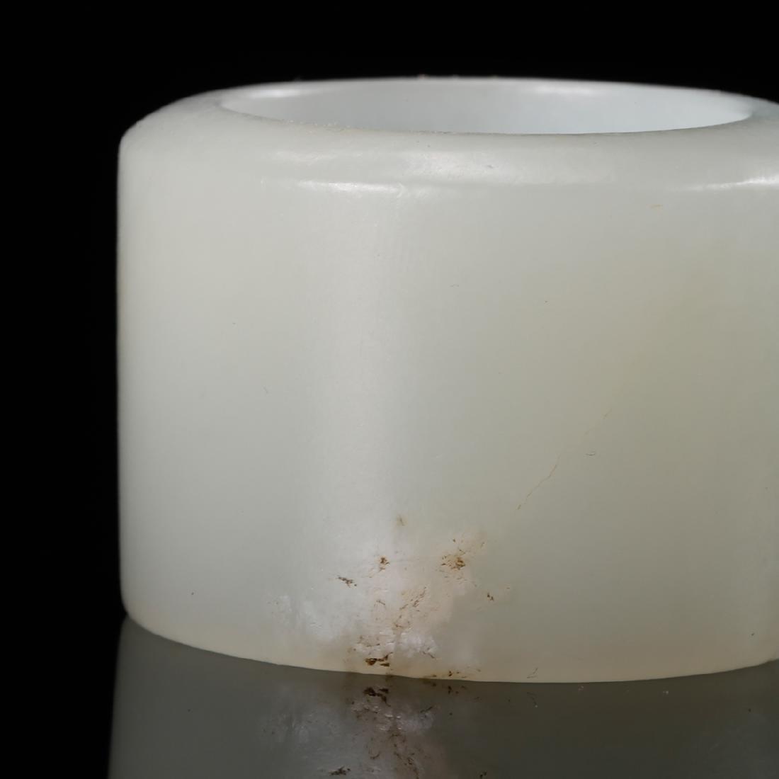 CHINESE WHITE JADE THUMB RING - 6