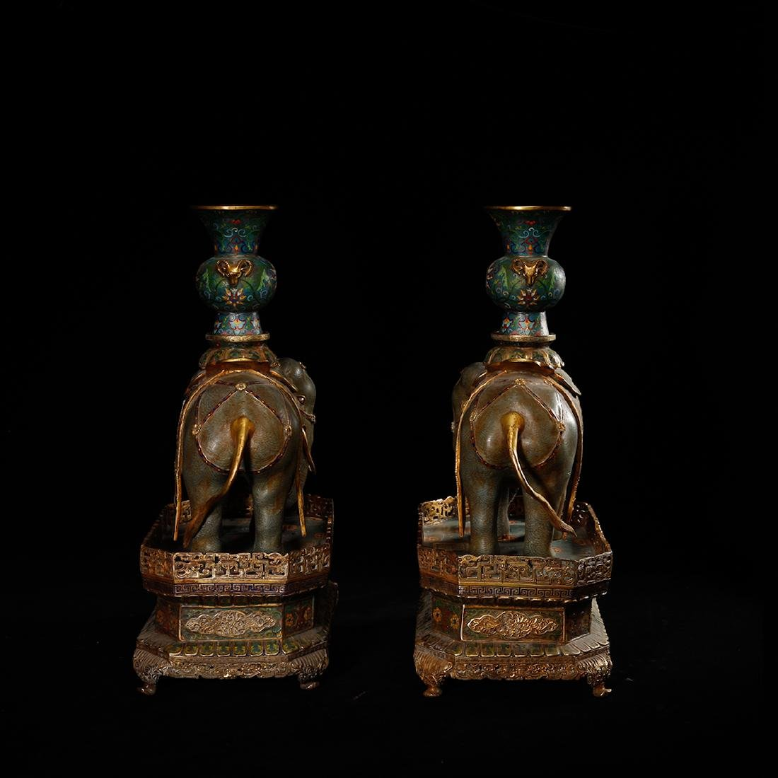 CHINESE CLOISONNE ELEPHANTS, PAIR - 4