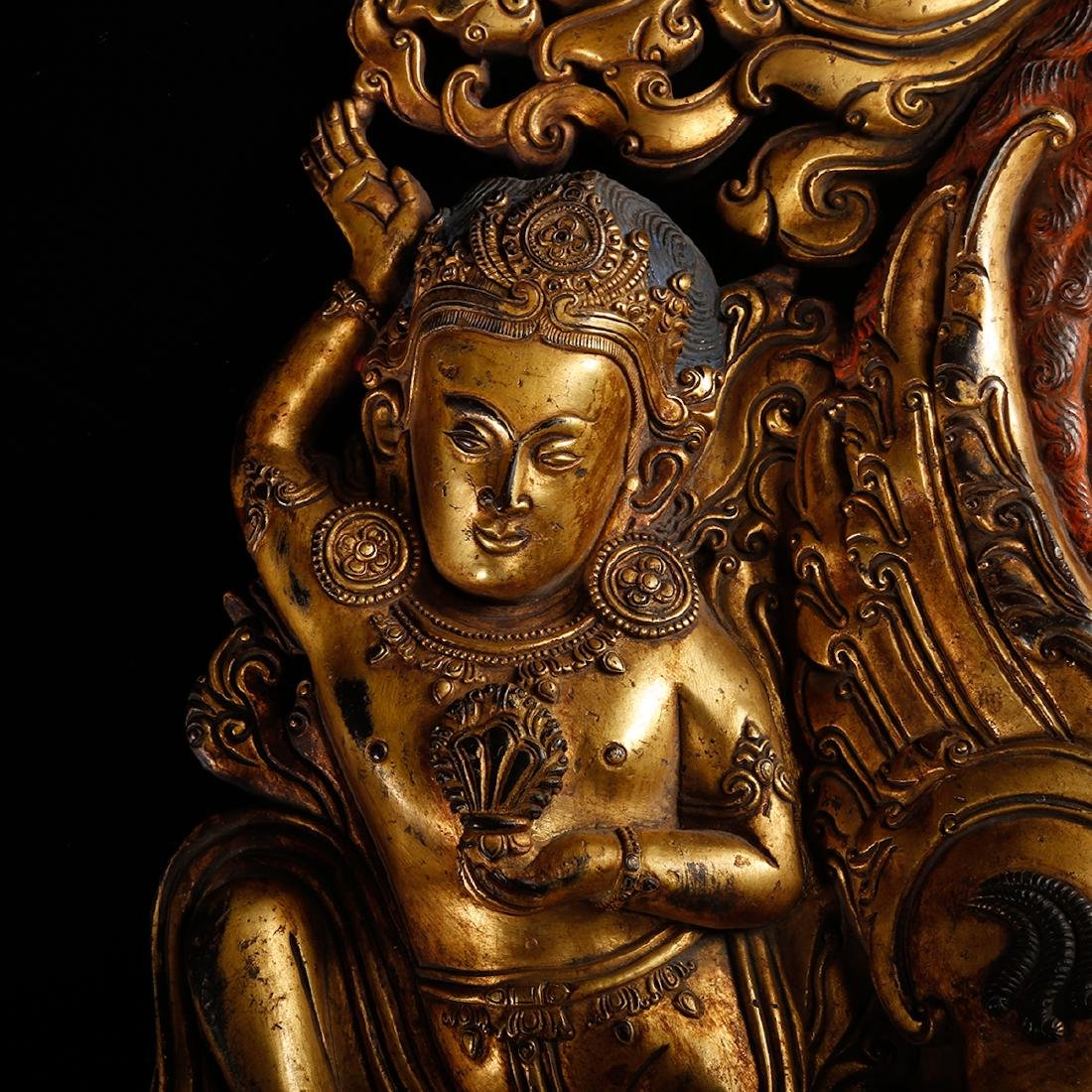 CHINESE GILT BRONZE FIGURE OF BUDDHA ON BEAST - 7